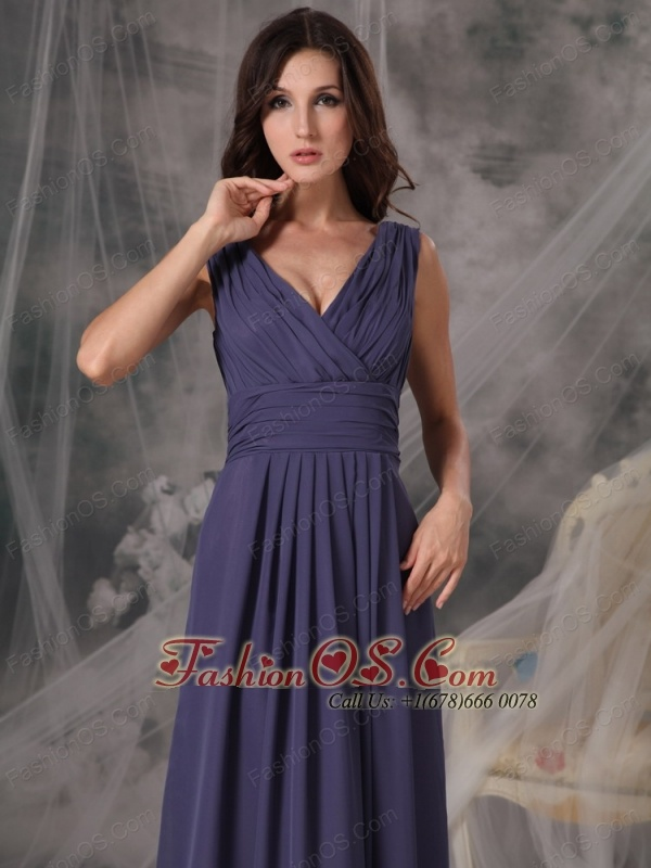 Beautiful Cheap Bridesmaid Dress Empire V-neck Chiffon Ruched Floor-length