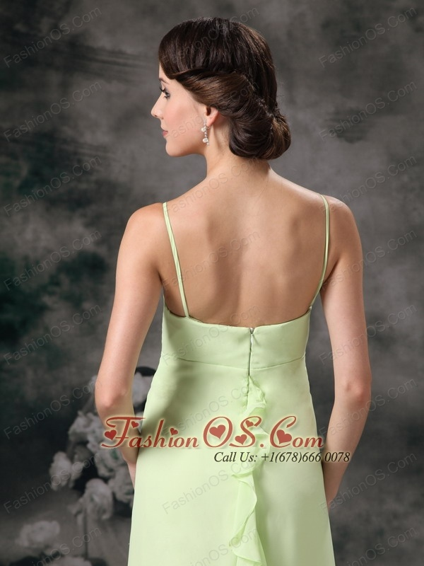 Beautiful Yellow Green Cheap Bridesmaid Dress Column Straps Chiffon Floor-length