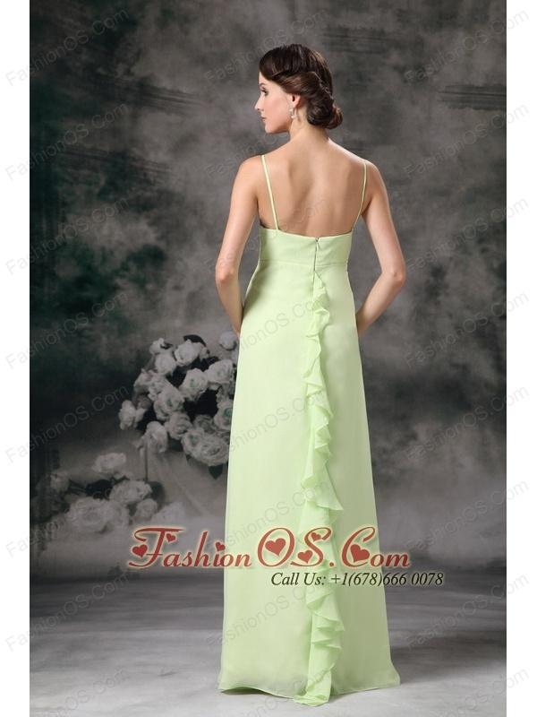 Beautiful Yellow Green Cheap Bridesmaid Dress Column Straps Chiffon Floor-length