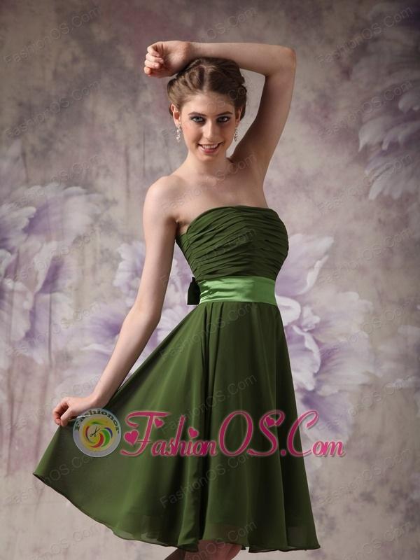 Cheap Olive Green Cocktail Dress Empire Strapless Chiffon Sash Knee ...