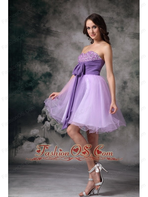 Custom Made Lilac A-line Sweetheart Mini-length Organza Beading Prom / Homecoming Dress