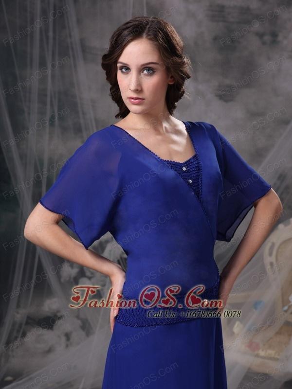Custom Made Royal Blue A-line Mother Of The Bride Dress Square Chiffon Beading Floor-length