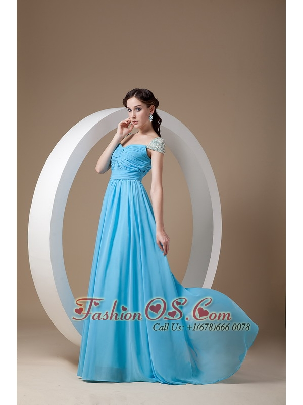 Customize Baby Blue Mother of the Bride Dress Empire Square Chiffon Beading Brush Train