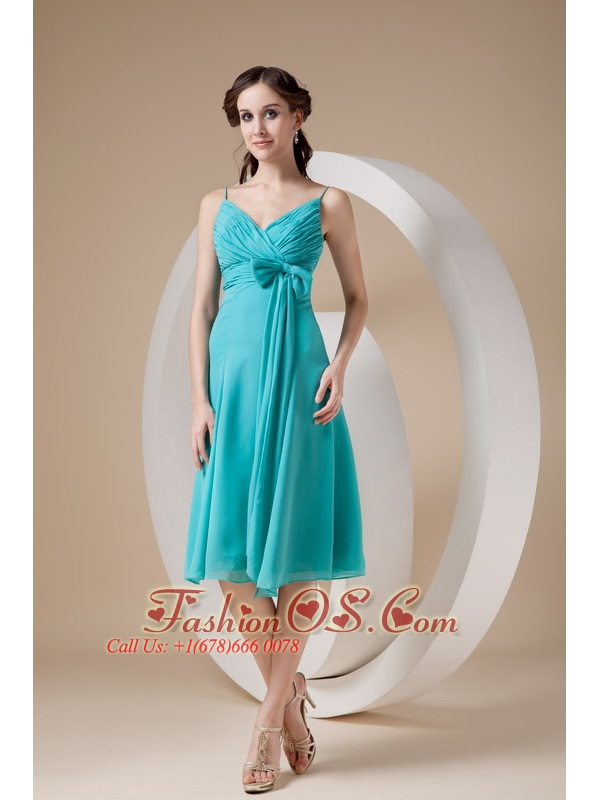 Turquoise Cocktail Dress Column / Sheath Spaghetti Straps Knee ...