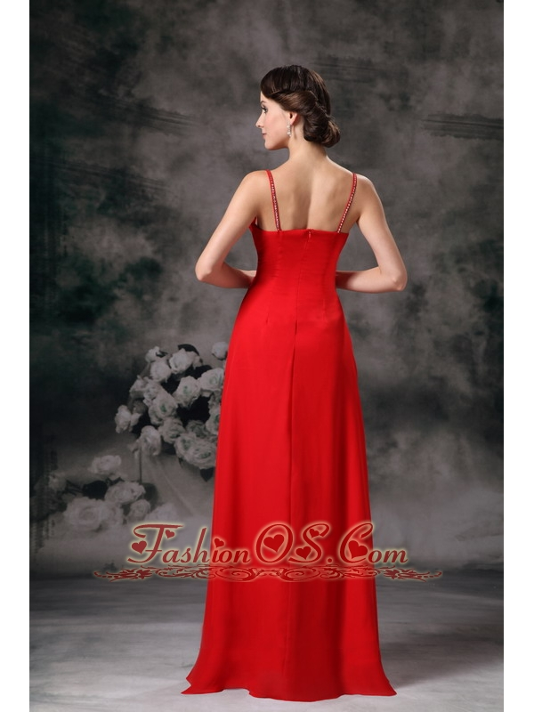 Cute Red Empire Straps Cheap Bridesmaid Dress Chiffon Floor-length