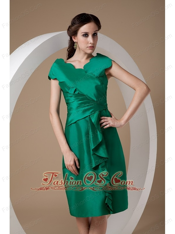Elegant Dark Green Mother of the Bride Dress Column V-neck Taffeta ...