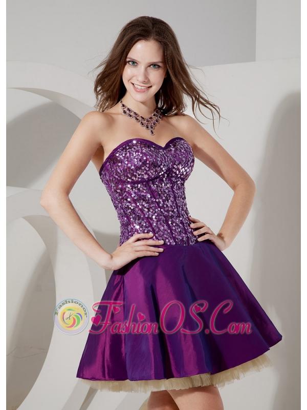 Elegant Purple Cocktail Dress A-line Sweetheart Taffeta and Sequin ...
