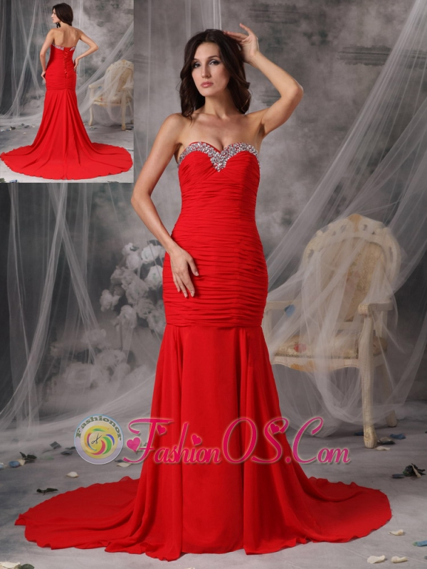 Elegant Red Mermaid / Trumpet Evening Dress Sweetheart  Chiffon Beading Court Train