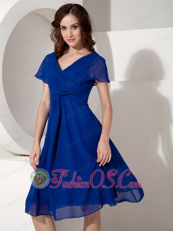 Elegant Royal Blue Mother of the Bride Dress Empire V-neck Chiffon Ruched Knee-length
