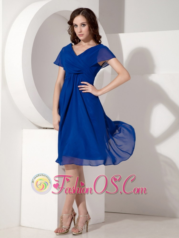 Blue Empire Waist Tea Length Mother of the Bride Dresses Blue