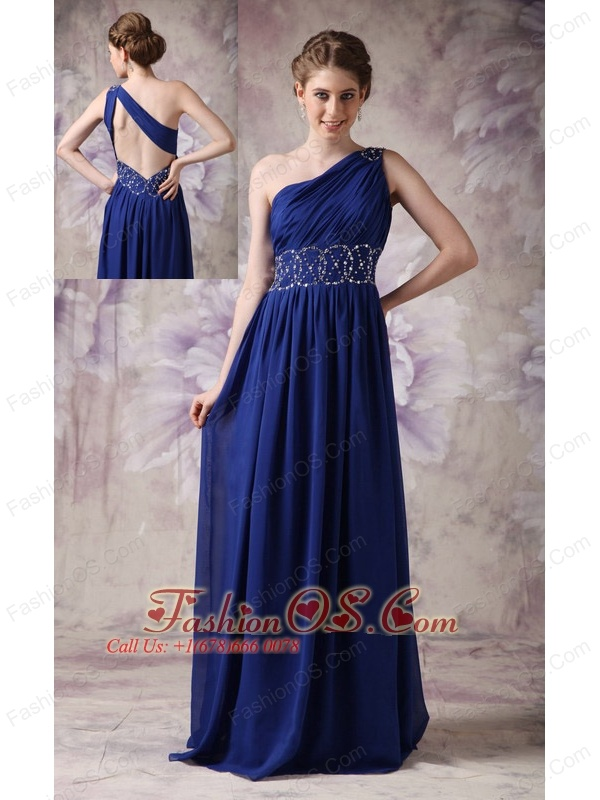 Fashionable Navy Blue Evening Dress Empire One Shoulder Chiffon