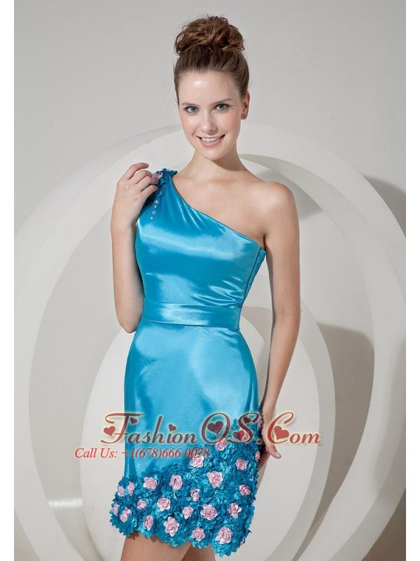 Formal Aqua Blue Column One Shoulder Prom / Homecoming Dress Taffeta Hand Made Flowers Mini-length