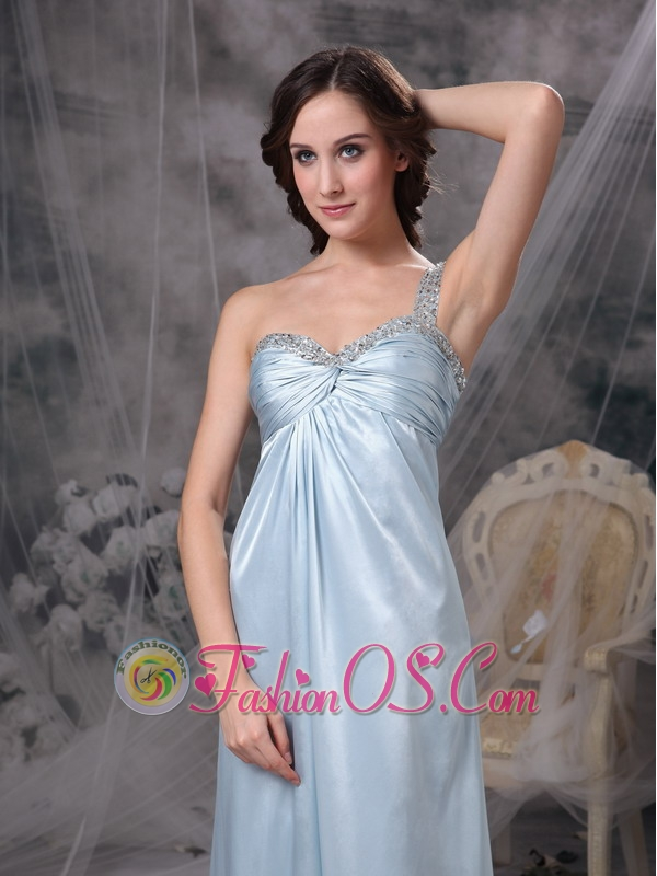 Light Blue Elegant Bridesmaid Dress Column One Shoulder Elastic Woven Satin Beading and Ruch Floor-length