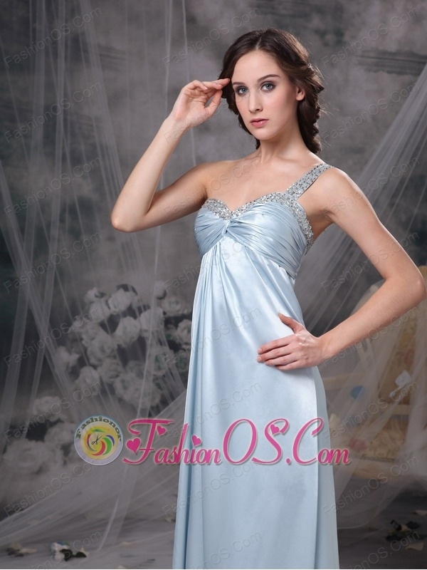 Light Blue Elegant Bridesmaid Dress Column One Shoulder Elastic Woven Satin Beading and Ruch Floor-length