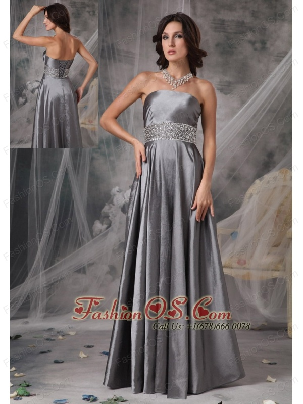 Modest Dark Silver Mother of the Bride Dress A-line Strapless ...
