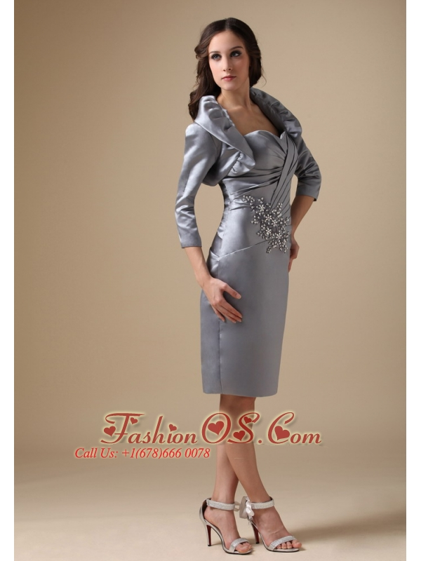 Modest Silver Mother Of The Bride Dress Column Sweetheart Taffeta ...