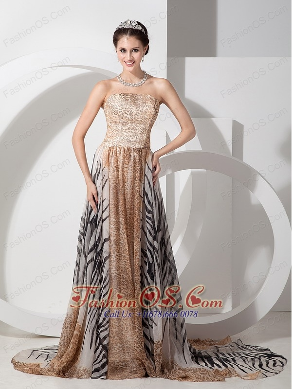 Multi-color Empire Evening Dress Strapless Special Fabric Court Train