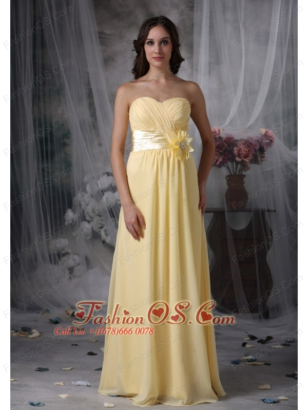 Pretty Light Yellow Cheap Bridesmaid Dress Empire Sweetheart Chiffon Hand Made Flower