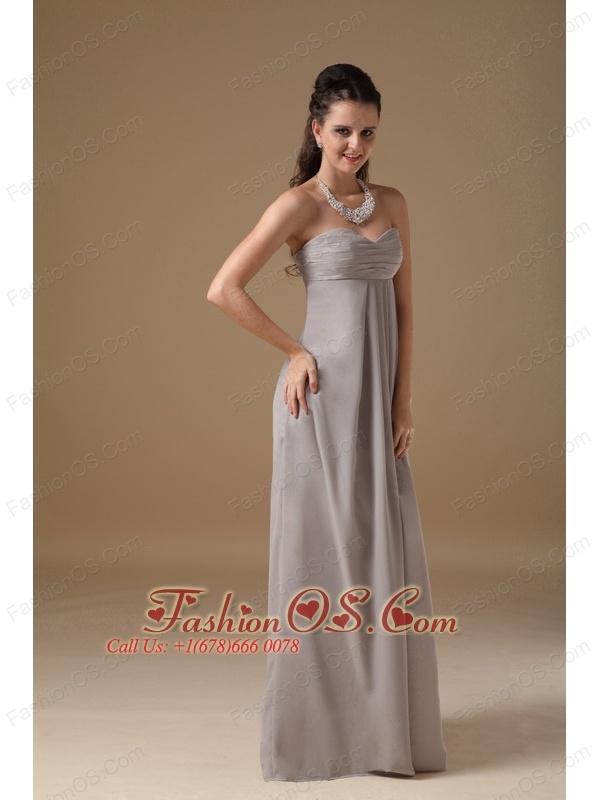 Simple Grey Cheap Bridesmaid Dress Empire Sweetheart Chiffon Ruch Floor-length