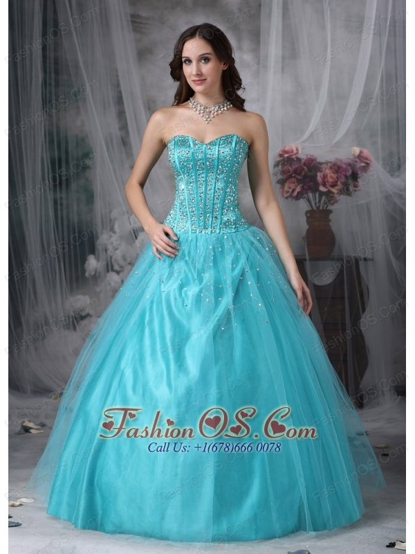 Beautiful Aqua Blue A-line Sweetheart Quinceanera Dress Tulle Beading Floor-length