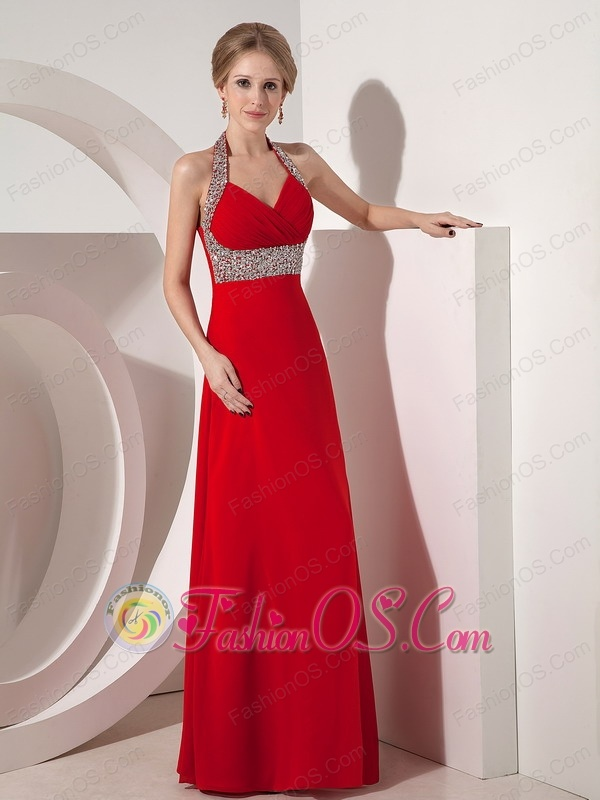 Wine Red Column Halter top Prom Dress with Beading