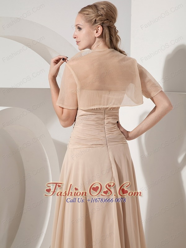 Popular Champagne Column Strapless  Mother Of The Bride Dress Chiffon Appliques Tea-length