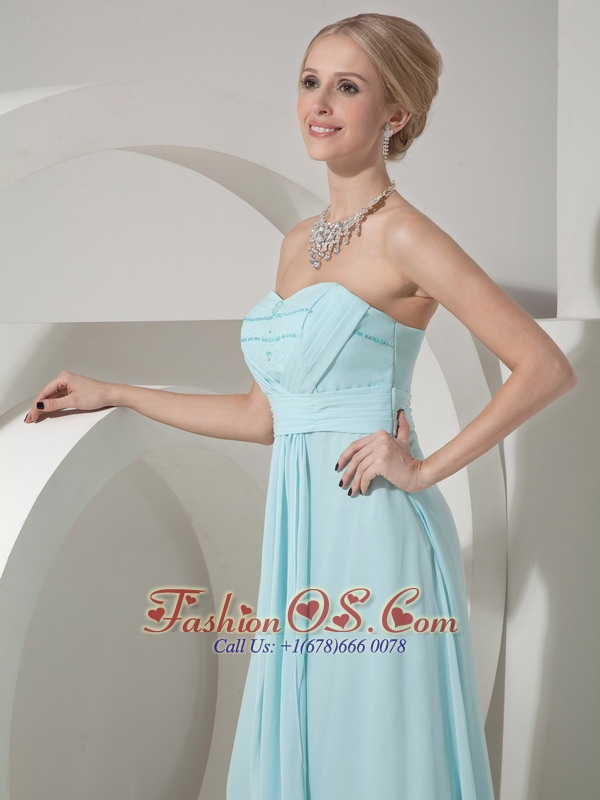 Custom Made Baby Blue Elegant Bridesmaid Dress Column Sweetheart Chiffon Beading and Ruch Floor-length