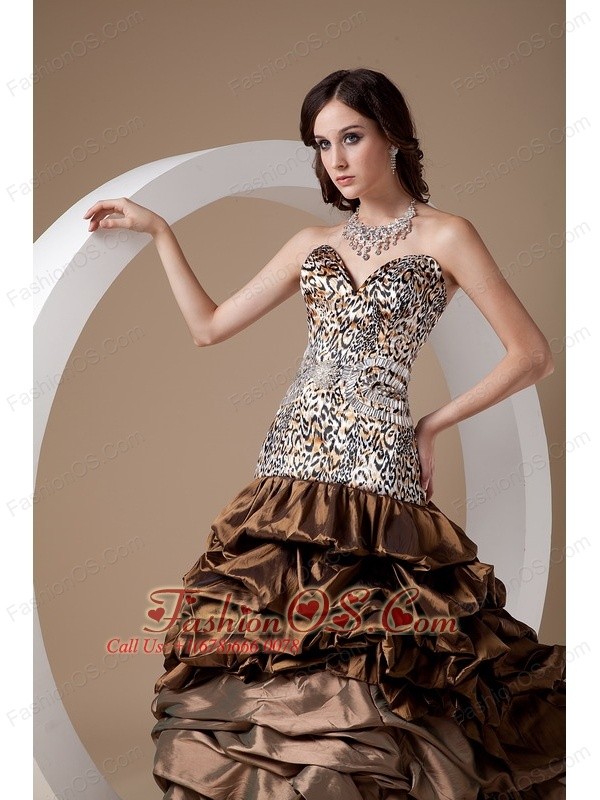 Custom Made Brown Ball Gown Sweetheart Quinceanera Dress Taffeta and Leopard Pick-ups Floor-length
