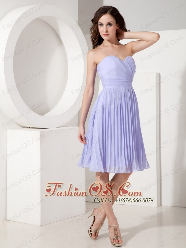 Custom Made Lilac Cocktail Dress Empire Sweetheart Chiffon Pleated Knee-length