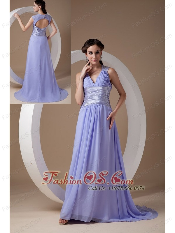 Custom Made Lilac Empire V-neck Evening Dress Chiffon Ruch Brush Train
