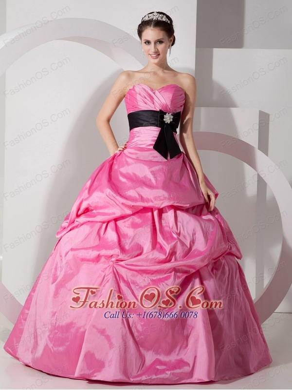 Custom Made Rose Pink Ball Gown Sweetheart Quinceanea Dress Taffeta Sash Floor-length