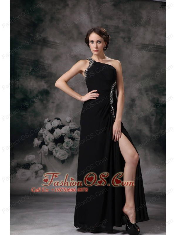 Customize Black Empire One Shoulder Evening Dress Chiffon Beading Floor-length