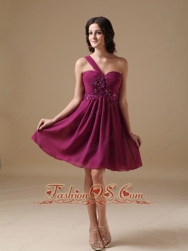 Customize Fuchsia  A-line Cocktail Dress One Shoulder Chiffon Beading Mini-length