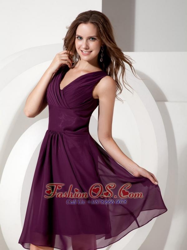 Dark Purple Cocktail Dress Empire V-neck Chiffon Beading Knee-length