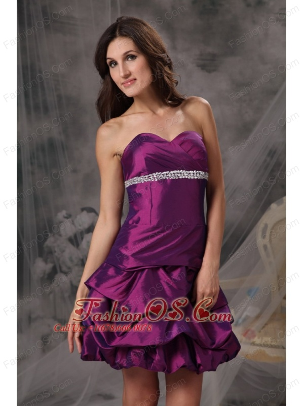 Customize Eggplant Purple Cocktail Dress A-line Sweetheart Taffeta Beading Mini-length