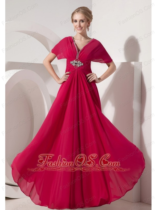 Customize Hot Pink Mother of the Bride Dress Empire V-neck Chiffon Beading Floor-length