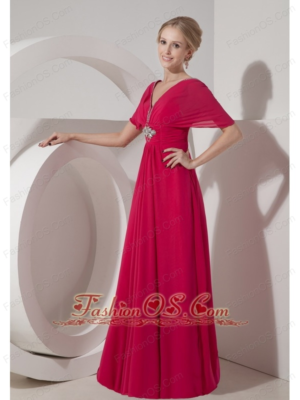 Customize Hot Pink Mother of the Bride Dress Empire V-neck Chiffon ...