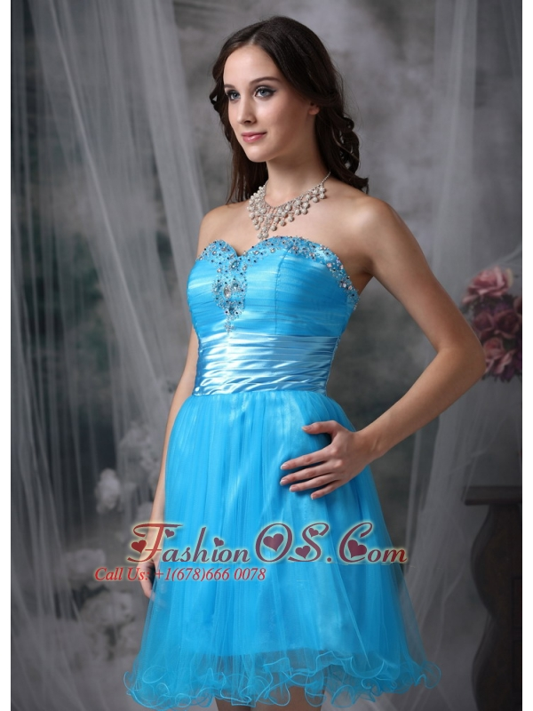 Customize Style Teal Column Cocktail Dress Sweetheart Organza Beading Mini-length