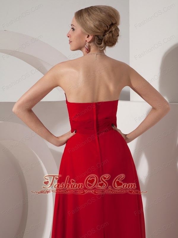Customize Wine Red Column Sweetheart Chiffon Beading Elegant Bridesmaid Dress Floor-length