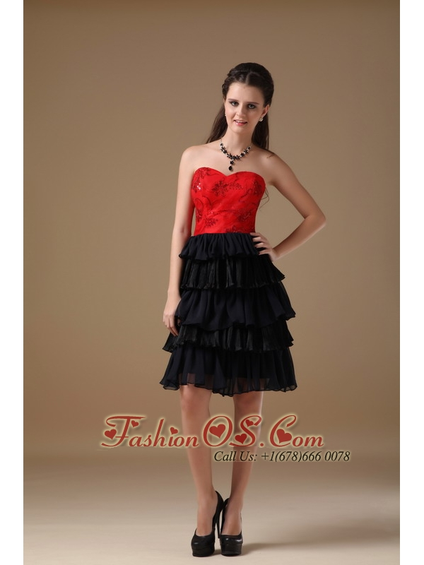 Cute Black and Red A-line Sweetheart Short Prom Dress Chiffon and ...