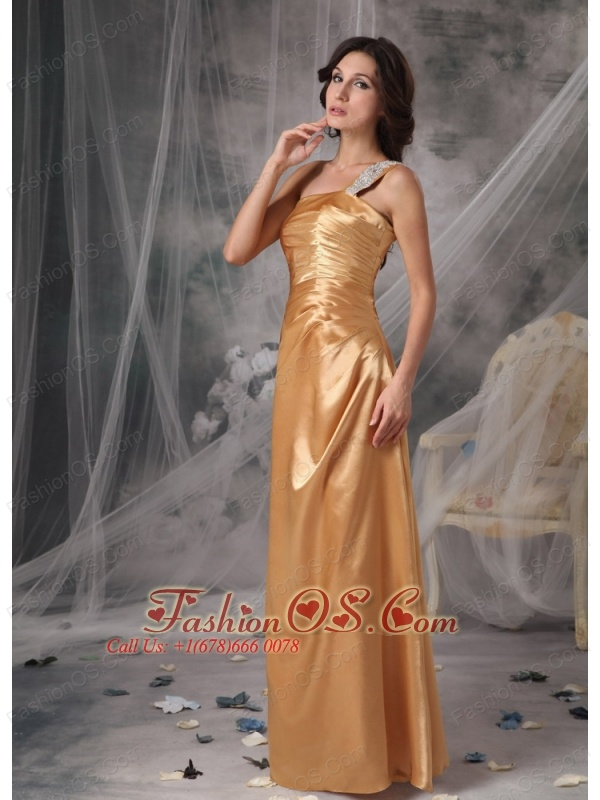Elegant Bridesmaid Dress Gold Empire One Shoulder Taffeta Appliques Floor-length