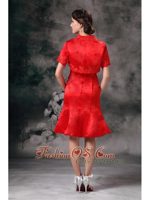 Elegant Red Column Sweetherart Mother Of Bride Dress Taffeta Knee-length