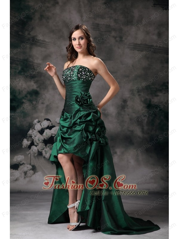 Elegant Green Strapless High-low Prom Dress with Beading