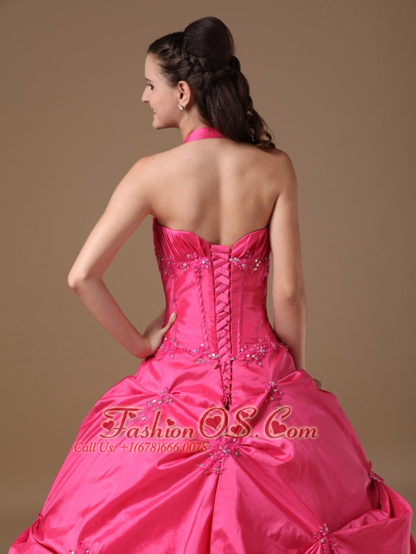 Exclusive Hot Pink Ball Gown Halter Quinceanera Dress Taffeta Beading Floor-length