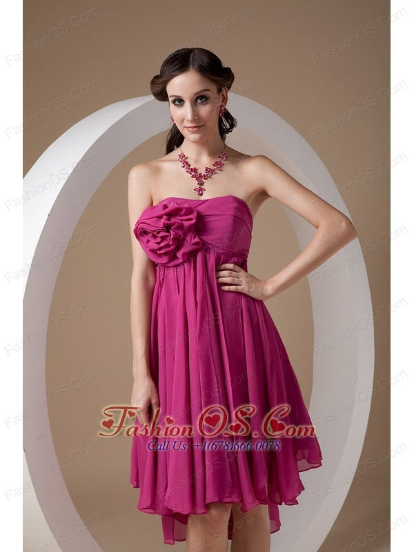 Exclusive Hot Pink Empire Cocktail Dress Strapless Chiffon Hand Made Flowers Mini-length