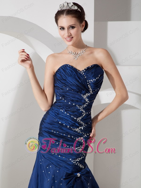 Exquisite Navy Blue Mermaid Evening Dress Sweetheart  Taffeta Beading and Ruch Floor-length