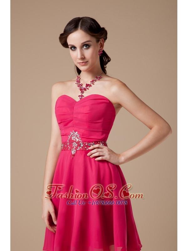 Formal Hot Pink Empire Sweetheart Cocktail Dress Chiffon Beading Mini-length