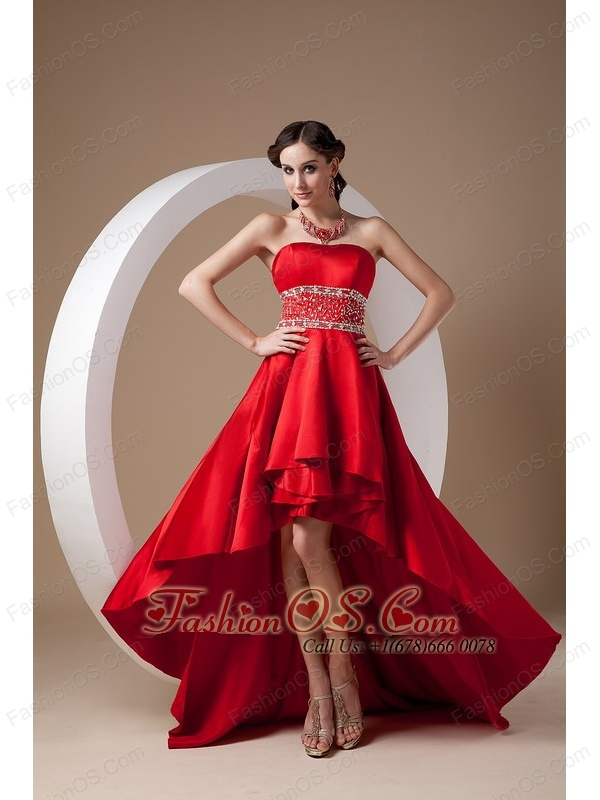 25b8d0e2cba99b High-low Red A-line Prom Dress Strapless Elastic Wove Satin Beading