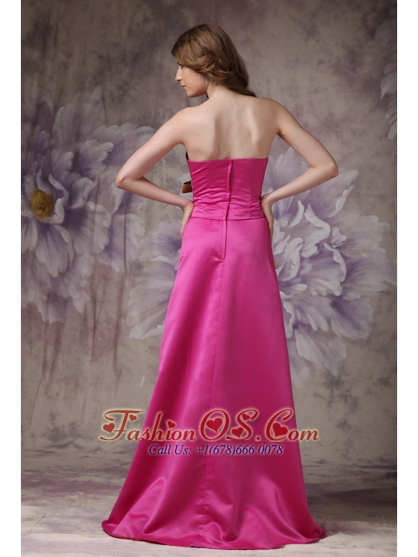 Hot Pink Elegant Bridesmaid Dress A-line Strapless Satin Ruch and Bows
