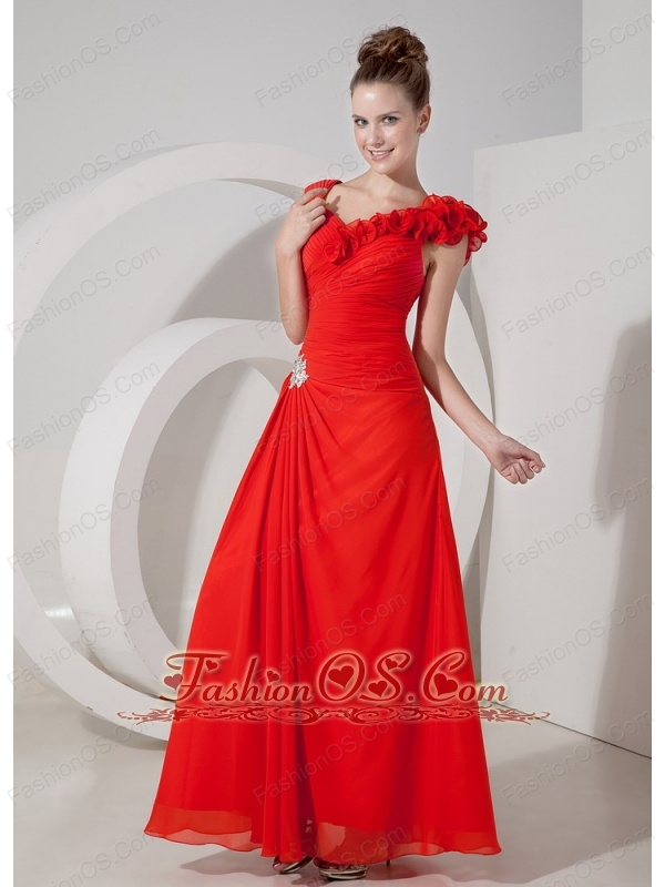 Luxurious Red Empire V-neck Floor-length Chiffon Appliques Evening Dress